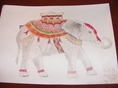 Skye's elephant drawing using oil pastels and pencil