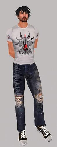 Made in the UK Global Rockstars Tee,  Unisex Worn Jeans, Moon & Stars Chuckers