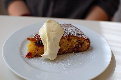 Raspberry, Polenta and Honey Cake