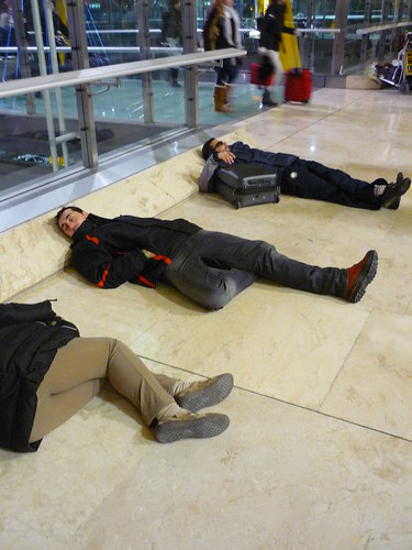 Sleeping rough at Madrid airport