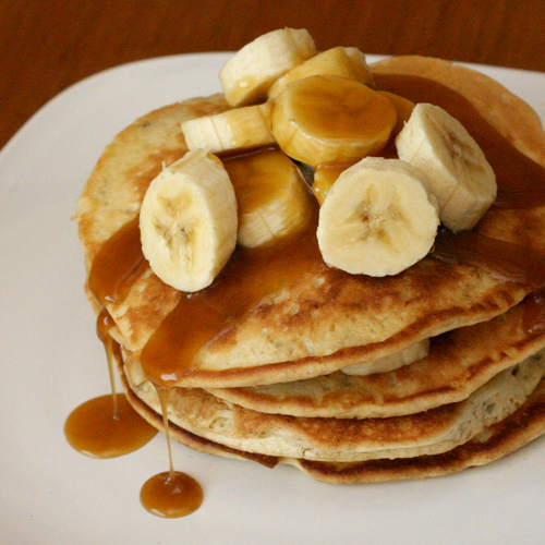 Coconut Pancakes with Banana and Caramel