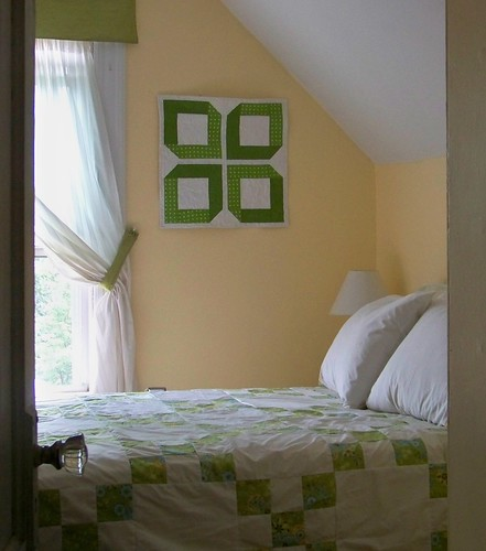 Yellow and green cottage style bedroom
