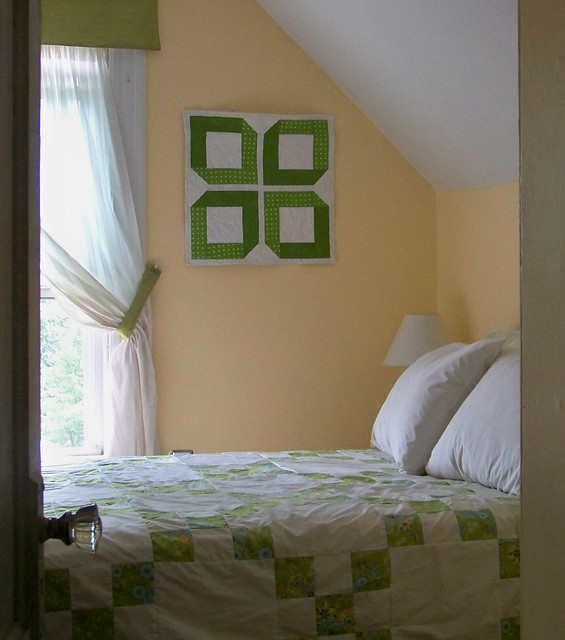 summer coverlet - apple green and white patchwork