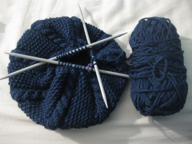 Slouchy Moss Cable Beret2