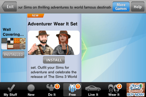 The Sims 3 (iPhone) Free 'Adventurer Wear It' set