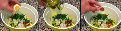 Squeezing Lemon, Pouring Oil, Adding Celery Seeds