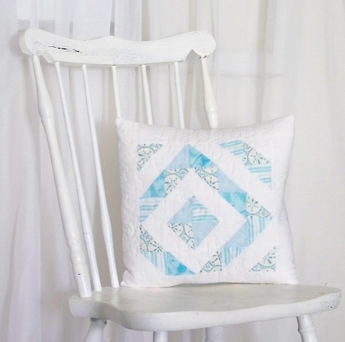 Turquoise and White Beach-y Modern Quilted Pillow Sham