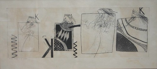 An etching of Hockney's Three Kings and a Queen, signed and dated 1961