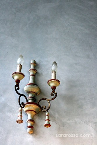 Antique candlestick holder turned light, Easter lunch in Piemonte