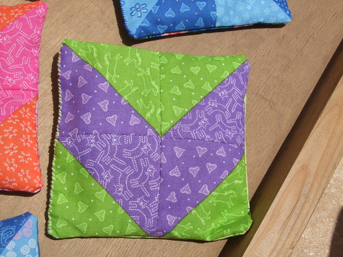 Simple patchwork sachet in green and purple