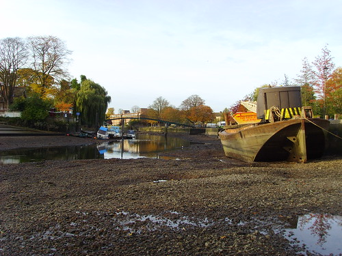 Thames at low tide in Twickenham during the annual weir draw off