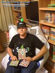 A fatboy sits on a Sims 3 Fatboy