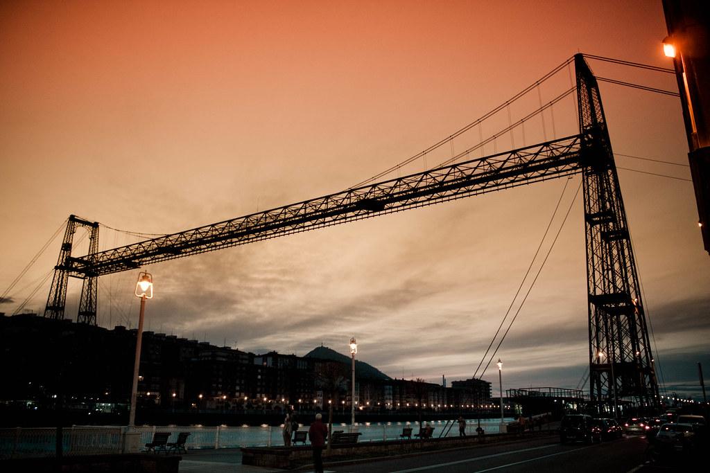 Atardecer en el Puente Bizkaia, Puente Colgante