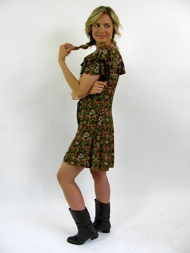 VINTAGE 90'S RUFFLE FLORAL DRESS