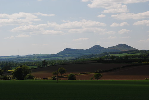 Looking to the Eildon Hills across the Borders landscape