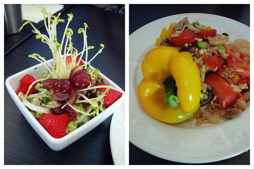 Salad & stuffed bell pepper