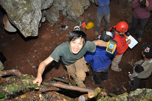 Phou Searches for a GPS Reading in Pig Sty Cave
