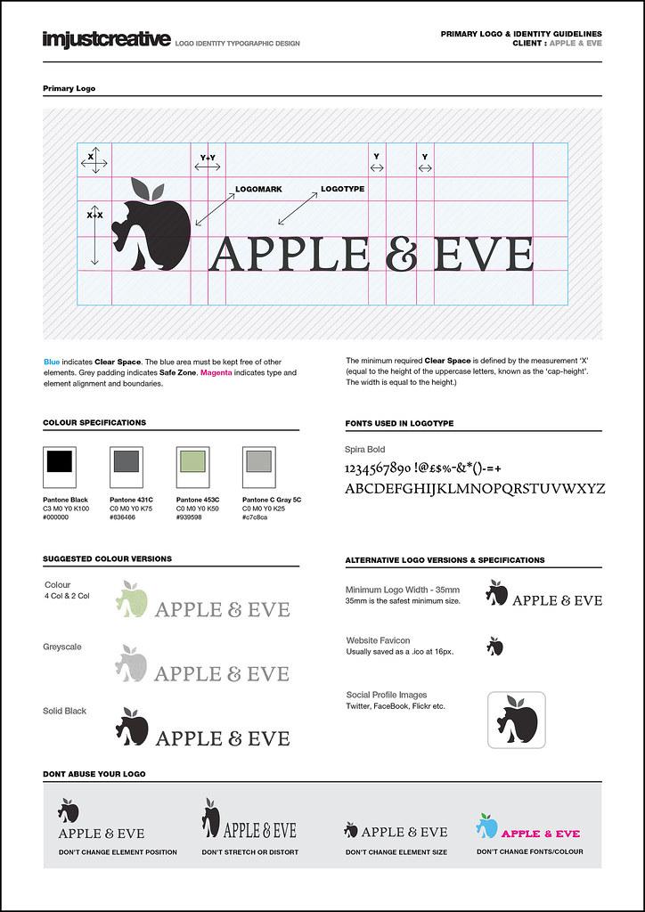 Identity Guidelines For Apple & Eve Logo Design