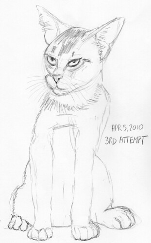 Cute kitten, drawn live on April 5, 2010