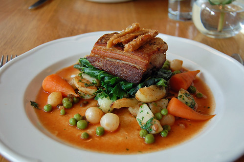 Slow Roasted Pork Belly, Saute Potatoes, Spring Greens and Crackling