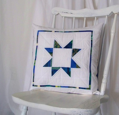 Blue and white star quilted pillow for Modify tradition swap