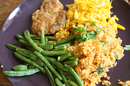 Seared green beans, Mexican millet and raw butternut squash salad