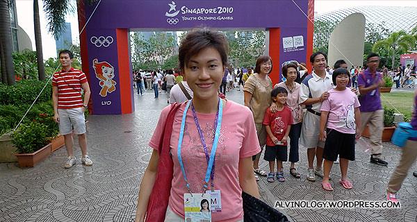 Rachel at the Marina Square entrance