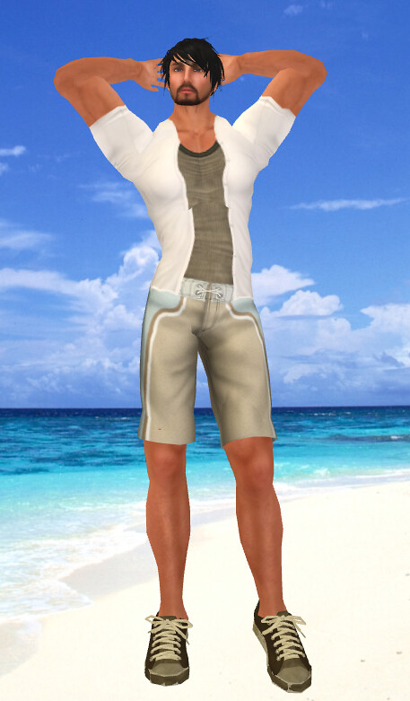 DI Boardies, INDI Tank, IHS Brown Sneakers, AQUA White Open Shirt