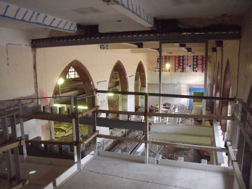 A view from the new mezzanine (suspended steelwork)