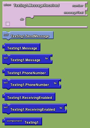 Google app inventor - texting