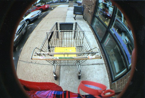 Super Fresh Cart outside of a DAV Thrift Store, Hampton, VA Lomography Fisheye