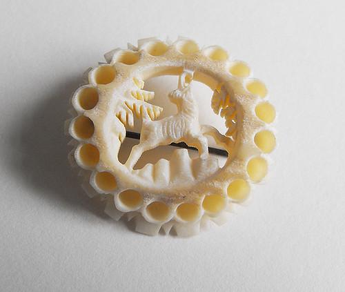 antique ivory deer brooch