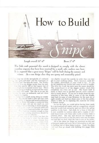 Snipe Plans 1931 Rudder