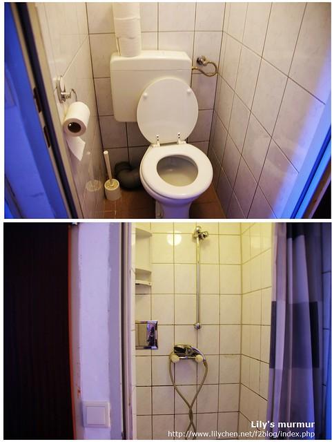 廁所與淋浴間分開在兩間房,有點小,大約一人轉身的距離。