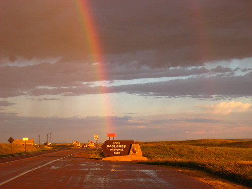 rainbow at the badlands