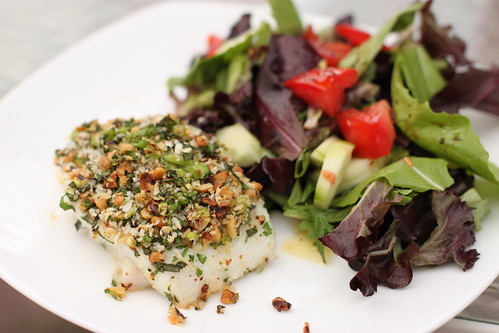 Walnut Herb Encrusted Halibut