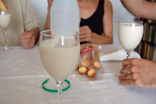 Orxata in Wine Glasses