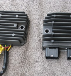 as you can see in the pics the rectifiers are basically very similar in size but most importantly the mounting holes in the honda part are the correct  [ 1024 x 768 Pixel ]