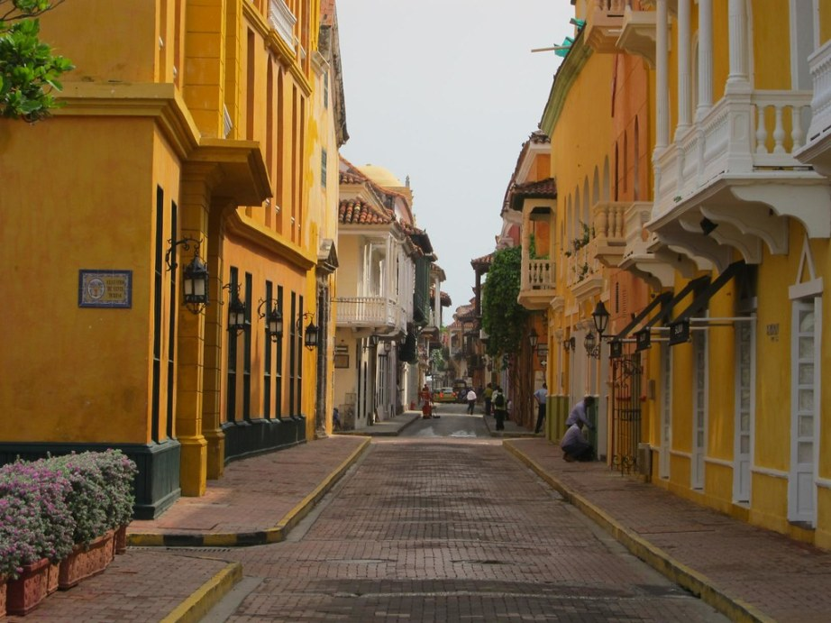View down a typical street in walled area of Cartagena.