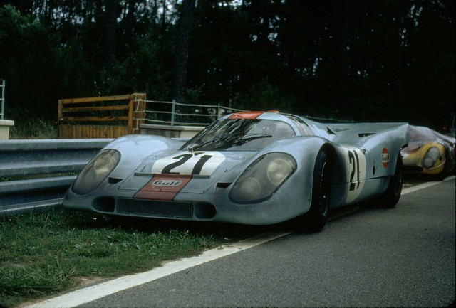 Between takes on the set of LeMans, McQueen's Porsche 917 gets a breather.