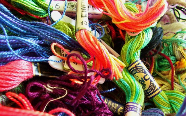 tangled mess of embroidery threads