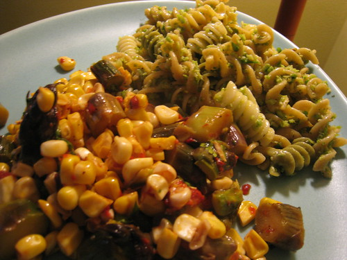 Garlic Scape Pesto & Grilled Corn & Asparagus Salad