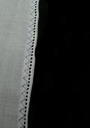 entredeux on fabric trimmed entredeux
