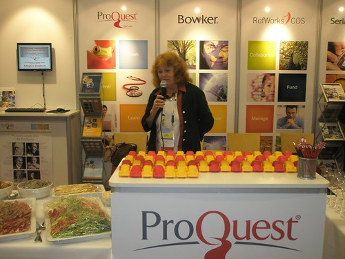 Petra Hauke at the student paper award at the ProQuest booth at the IFLA2010 in Gothenburg.