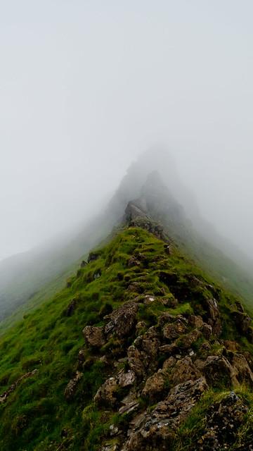 The narrow ridge leading to Askival