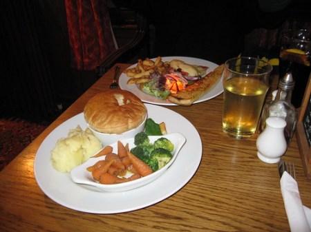 Tonight's dinner: steak pie and veggies