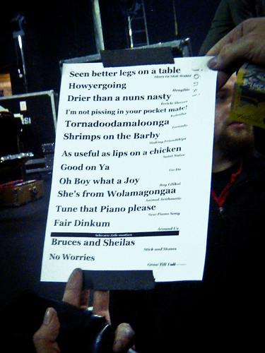 Hilarious set list