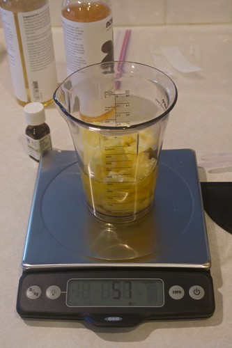 Weighing Beeswax and Oils