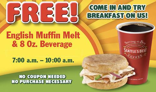 Subway free breakfast