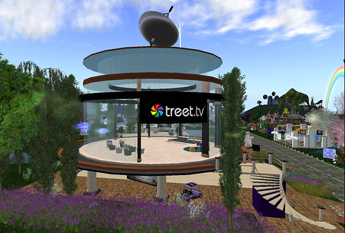 Treet studio at Relay for Life in Second Life - can you see our special golf cart?